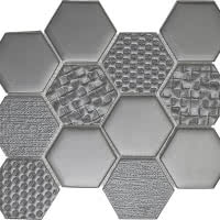 Hex Mix - Antracite - Size 9x11 mosaic nominal