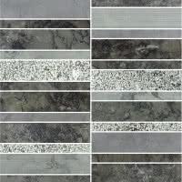 Marble Medley - Grigio Barlin 0.6x6 - Size 12x12 mosaic